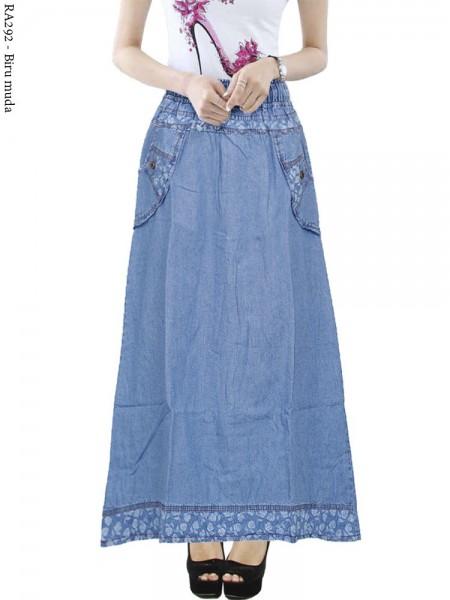 RA292 Rok Jeans Anak Tanggung List Motif 8-12th