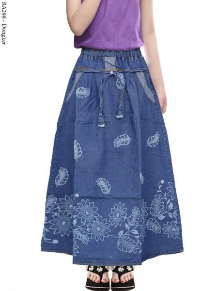 RA299 Rok Jeans Anak Tanggung Motif Bunga