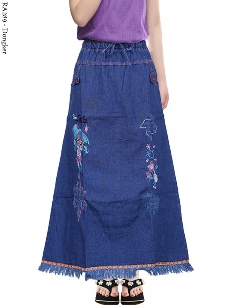 RA289 Rok Jeans Anak Tanggung Bordir Rawis 6-110th