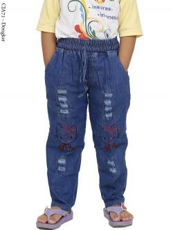 CJA71 Celana Jeans Anak Bordir Hellokitty