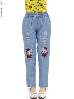 CJA83 Celana Jeans Anak Bordir Hellokitty