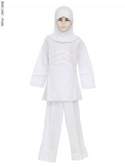 BMC1687 (7-12) Baju Anak Setelan Celana Putih