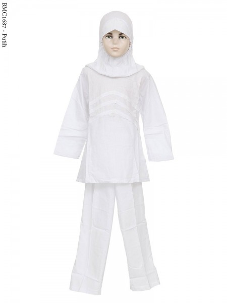 BMC1687 Baju Anak Setelan Celana Putih
