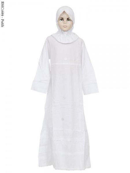 BMC1689 (7-12) Gamis Anak Katun Putih Senada