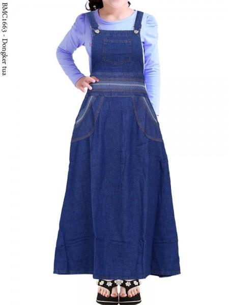 BMC1663(16-20) Overall Jeans Anak List Rantai