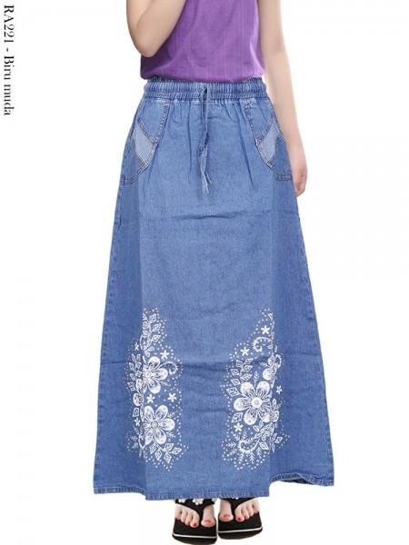 RA221 Rok Jeans Anak Tanggung Sablon Bunga