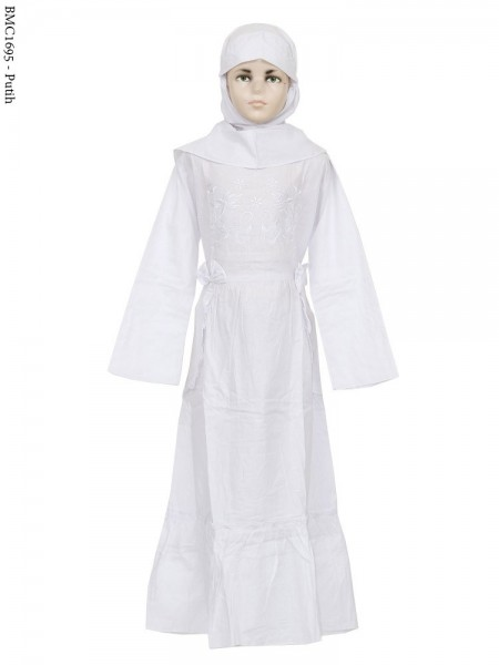 BMC1695 (10-12) Gamis Anak Katun Putih