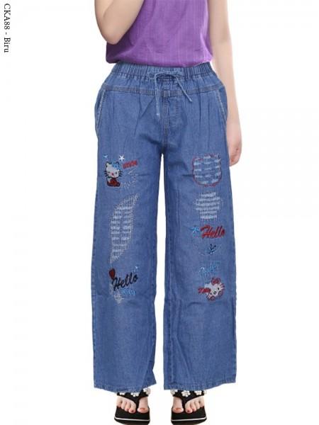 CKA88 Celana Kulot Jeans Anak Bordir hellokitty