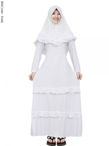 BMC1690 (all-size) Gamis Jersey Anak Tanggung Putih