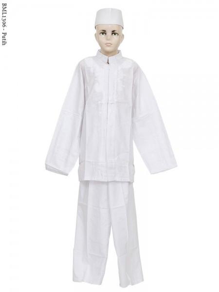 BML1306 (13-15) Baju Koko Anak Katun Putih Bordir