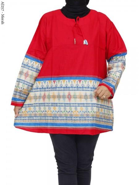 AJ257 Blus Katun Super Jumbo Batik