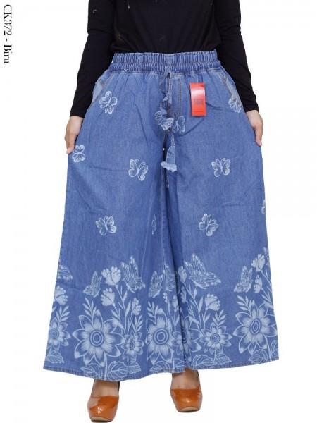 CK372 Celana Kulot Rok Jeans Motif