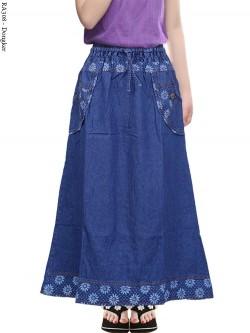 RA308 Rok Jeans Anak Tanggung List Motif 9-12th