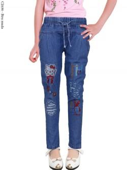 CJA86 Celana Jeans Anak Bordir Hellokitty