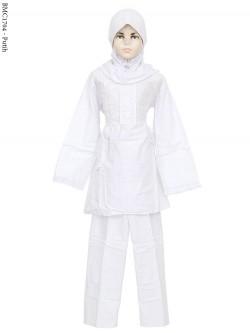 BMC1704 (7-12) Baju Anak Setelan Celana Putih