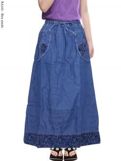 RA305 Rok Jeans Anak Tanggung List Motif 8-12th