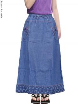 RA317 Rok Jeans Anak Tanggung List Motif
