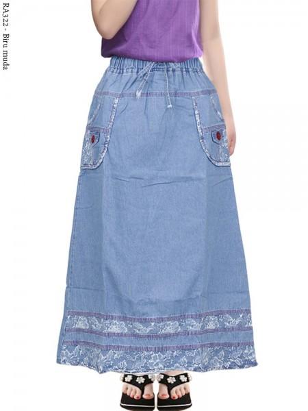 RA322 Rok Jeans Anak Tanggung List Motif