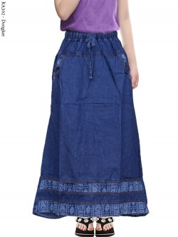 RA302 Rok Jeans Anak Tanggung List Warna