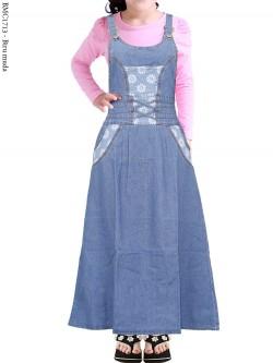 BMC1713 Overall Jeans Anak Tanggung Bunga