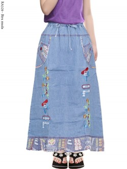 RA329 Rok Jeans Anak Bordir Bunga