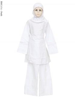 BMC1711 (7-12) Baju Anak Setelan Celana Putih