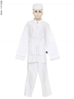 BML1311 (7-12) Baju Koko Anak Katun Putih Bordir