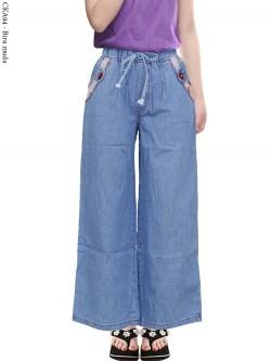 CKA94 Celana Kulot Jeans Anak List Motif