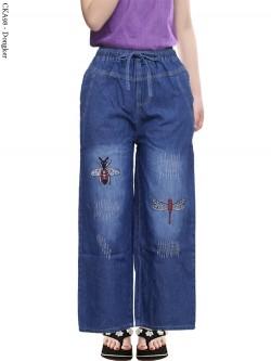 CKA98 Celana Kulot Jeans Anak Bordir Capung