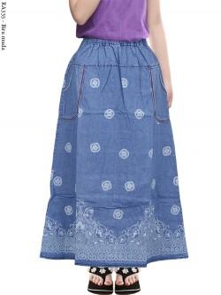 RA335 Rok Jeans Anak Tanggung Sablon Batik