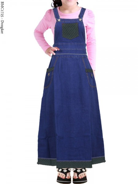 BMC1725 Overall Jeans Anak Tanggung List Motif