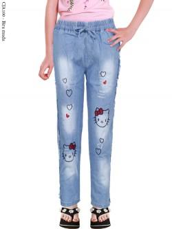 CJA100 Celana Jeans Anak Bordir Hellokitty