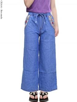 CKA101 Celana Kulot Jeans Anak List Bunga