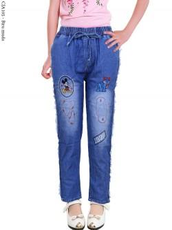 CJA105 Celana Jeans Anak Bordir Mickeymouse