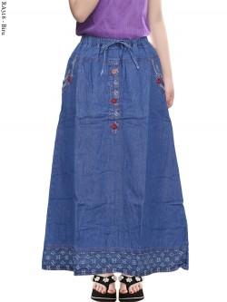RA318 Rok Jeans Anak Tanggung List Motif
