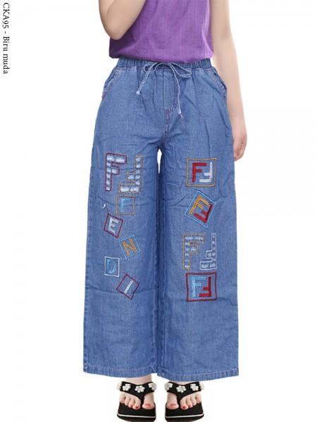 CKA95 Celana Kulot Jeans Anak Bordir Fendi
