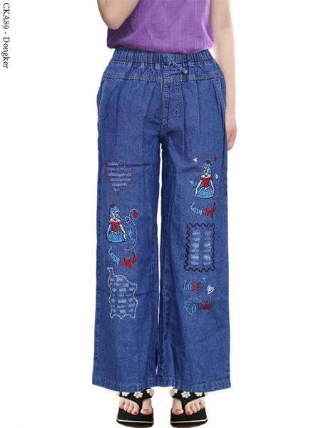 CKA89 Celana Kulot Jeans Anak Bordir Girls