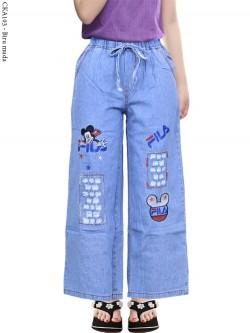 CKA103 Celana Kulot Jeans Anak Bordir Fila Mickeymouse