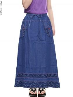 RA324 Rok Jeans Anak Tanggung List Motif