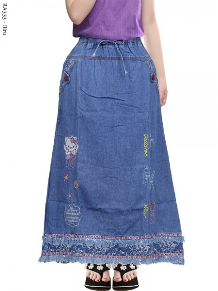 RA333 Rok Jeans Anak Tanggung Rawis Bordir
