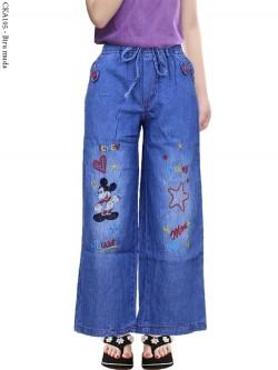 CKA105 Celana Kulot Jeans Anak Bordir Mickymouse