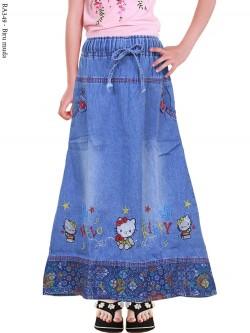 RA349 Rok Jeans Anak Tanggung Bordir Hellokitty