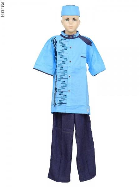 BML1314 (7-12) Baju Koko Anak Denim Bordir