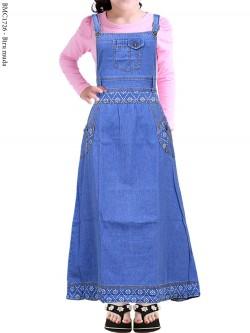 BMC1726 Overall Jeans Anak Tanggung List Motif
