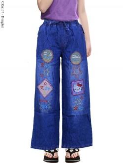 CKA107 Celana Kulot Jeans Anak Bordir Hellokitty