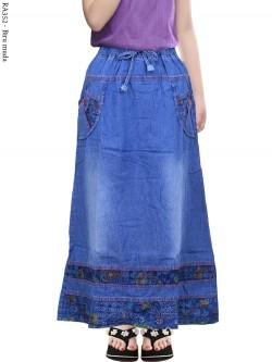 RA352 Rok Jeans Anak Tanggung List Motif