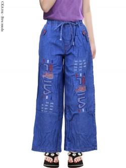 CKA104 Celana Kulot Jeans Anak Tanggung Bordir Fila