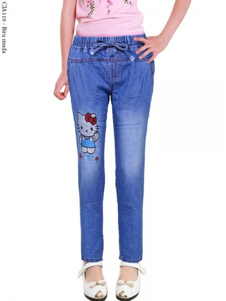 CJA110 Celana Jeans Anak Bordir Hellokitty