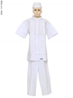 BML1315 (13-15) Baju Koko Anak Katun Putih Bordir