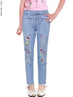 CJA91 Celana Jeans Anak Bordir Hellokitty